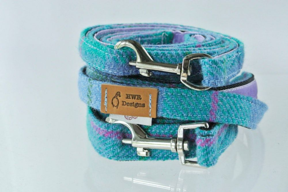 Harris Tweed Turquoise Plaid Dog Lead.